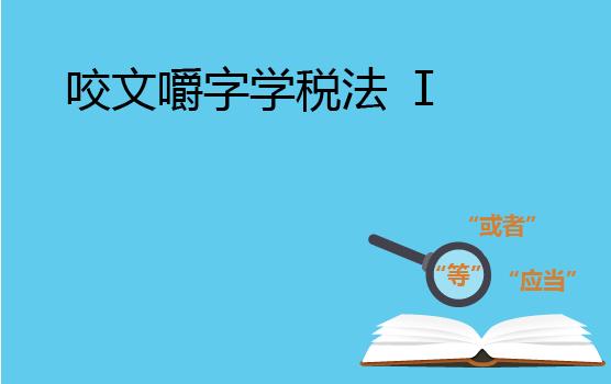 咬文嚼字学税法 I