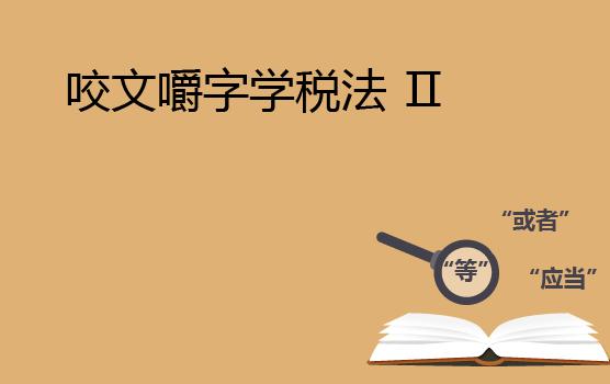 咬文嚼字学税法 II